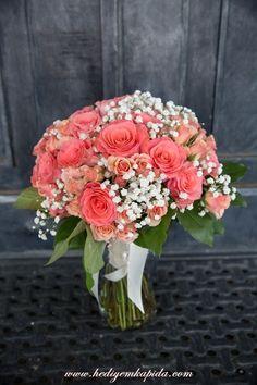 Balıkesi̇r Çiçek - Balıkesir Çiçekçi - Balıkesir Çiçek Gönder ~ Gelin Çiçeği Pembe Gül ve Cipso