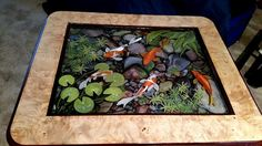 Table Unique 3D resin painting Koi Pond by vmveldman on Etsy
