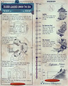 Leagues Under the Sea Story Card, from Tokyo DisneySea Disneyland Paris, Tokyo Disneyland Resort, Vintage Disneyland, Disney Sign, Disney Parks, Walt Disney Imagineering, Leagues Under The Sea, Tokyo Disney Sea, Disney Rides