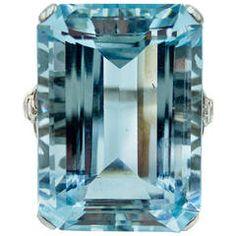 Elegant Aquamarine Diamond Platinum Cocktail Ring