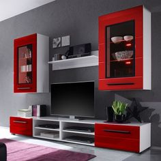 🌟 💖 🌟 💖 EEK A+, wall-to-wall Motley II - including lighting - high gloss Red / White, lofts Cape Now furniture order. Tv Unit Furniture Design, Tv Unit Interior Design, Home Decor Furniture, Modern Tv Room, Modern Tv Wall Units, Sofa Design, Tv Wall Design, Modern Tv Unit Designs, Living Room Tv Unit Designs