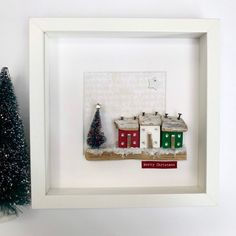 Excited to share this item from my shop: Christmas wall art of framed little wooden houses, original Christmas decoration Wooden Christmas Ornaments, Christmas Wall Art, Christmas Home, Handmade Christmas, Christmas Decorations, Driftwood Wall Art, Reclaimed Wood Wall Art, Fall Crafts, Holiday Crafts