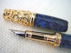 Pen, Pens, Fountain pen, Victorian pen, Handcrafted Pen, Custom pen, Victorian style pen, Lapis, Maple Burl-  handmade  by Onestreasures by onestreasures on Etsy
