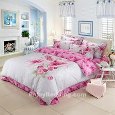 Asian Lily Print Full Size Toile Bedding Sets - EnjoyBedding.com