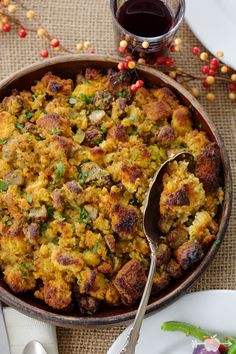 Sausage & Cornbread Dressing with Green Chiles | Accompany your Thanksgiving turkey with this spicy & sweet stuffing! Click for recipe.
