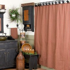 Sturbridge Shower Curtain ok just like the checked pattern for curtains at the camping cabin in the woods now have to get the stars tip hold it too