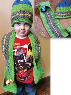 Crochet - Children & Baby Patterns - Accessory Patterns - On the Road Again Hat & Scarf Crochet Car, Crochet Kids Hats, Crochet For Boys, Crochet Poncho, Crochet Beanie, Cute Crochet, Crochet Scarves, Crochet Crafts, Crochet Clothes