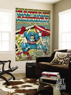 Marvel Comics Retro: Captain America Comic Panel; Smashing through Window (aged) Wall Mural at Art.com