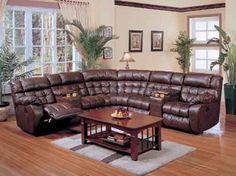 Mocha 3 PC Bonded Leather Reclining Sectional Sofa w/ Two Cup Holders