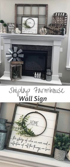 Beautiful Farmhouse Style  Framed Shiplap Wreath HOME sign.This is a great added touch for any farmhouse, rustic style home decorating. #farmhouse #decor #ad