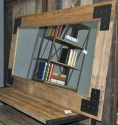 Wooden Framed Mirrors: Rustic Wood with Metal Corner Plates 2100x1300mm