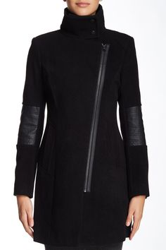 Andrew Marc - Faux Leather Trim Wool Blend Jacket at Nordstrom Rack.  (the one Jessica Jones wears)
