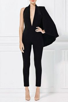 6aa9aef0ee1  120.99 Black V Neck Strapless Jumpsuit
