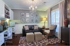 a great way to turn a typical formal dining room (in the front right of entry), of a ranch style home, into a home office/study