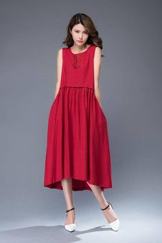 Red linen dress midi dress sleeveless dress loose dress