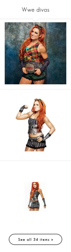 """""""Wwe divas"""" by angellynn02 ❤ liked on Polyvore featuring becky lynch, natalya, sasha banks, paige, tops, the bella twins, graphic tops, checkered top, wwe and wrestling"""