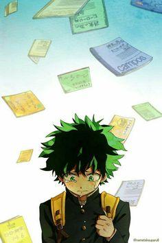 """Midoriya """"Deku"""" Izuku, sad, crying, text, books, notebooks; My Hero Academia"""