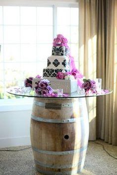 Wine barrel cake table