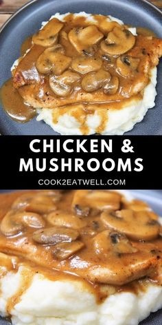 Food network recipes 670825306976795745 - If you're due for a wonderful home-cooked meal, this chicken and mushrooms dinner is it. In this recipe, thin chicken breasts are served with a delicious mushroom gravy. Great Chicken Recipes, Chicken Parmesan Recipes, Recipe Chicken, Chicken Mushroom Recipes, Chicken Salad, Mushroom Meals, Ground Chicken Recipes Easy, Mushroom Sauce For Chicken, Mushroom Food
