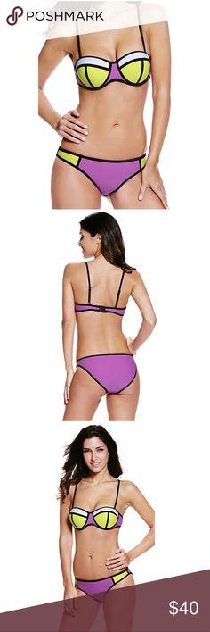 Cute Bikini Super cute purple and yellow bikini. Fits on the larger side. Swim Bikinis