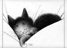 Albert Dubout, le Gros dodo - the long cat nap