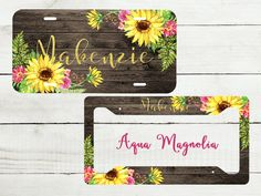Sunflowers, Rustic, Dark Brown Wood - License Plate - Personalized - License Plate Set - Monogrammed - License Plate Frame - Car Tag by AquaMagnolia on Etsy
