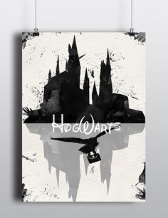 Watercolor Harry Potter Art Print Hogwarts Castle by LACOTEDESIGN