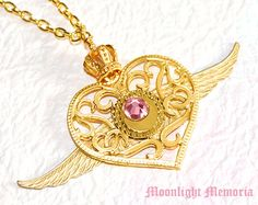 Sailor Moon Necklace - Sailor Moon Crisis Moon Compact Inspired - Handmade Gold Wing Crown Heart Sailor Moon Necklace Jewelry Gift. $58.00