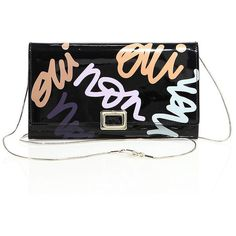 Roger Vivier Oui Non Graffi-Print Patent Leather Chain Wallet (£940) ❤ liked on Polyvore featuring bags, wallets, apparel & accessories, black, chain shoulder bag, roger vivier bag, roger vivier, snake wallet and snake bag
