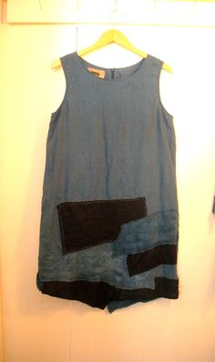 Patched recycled blue linen dress