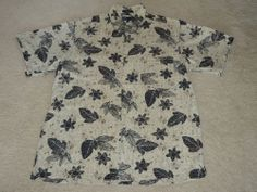 Marc Edwards Men's Hawaiian 100% Silk Button Shirt M Medium Khaki Black Palms
