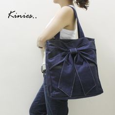 QT Canvas Tote in Navy Blue - Double Straps Shoulder Bag via Kinnies on Etsy $42  Drool!  When I saw a similar style at Kohl's (ELLE Annabelle Knotted Shopper) I knew it was fate.
