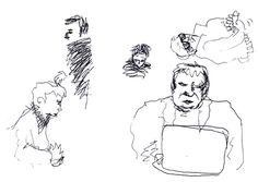 """Apunte: A la ciutat 021   Apunte  """"A la ciutat 021""""  En la ciudad 021  Bolígrafo sobre papel  148 x 209 cm  2001  Barcelona  apunte: en la ciudad libro 2001-08 / 2002-01"""