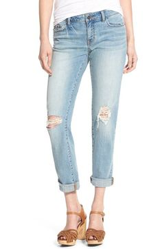 Free shipping and returns on Sun & Shadow Distressed Girlfriend Jeans at Nordstrom.com. More flattering than boyfriend jeans and more comfortable than your favorite skinnies, these cuffed and distressed girlfriend jeans feature a just-right fit and a faded wash for an easygoing, effortlessly cool look.