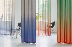 Product - Création Baumann - VOILE TINTO Office Space Design, Retail Interior, Data Sheets, Curtain Fabric, Gradient Color, Interior Inspiration, Interior Architecture, Creations, House Design