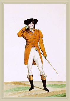 "Carle Vernet - Plate 1, from the ""Incroyable et merveilleuse"" series of fashion plates. c.1814. A Dandy dressed in a boat-shaped hat, a dun-coloured jacket and buckskin breeches. Engravings by Georges Jacques Gatine and Louis-Leopold Boilly."