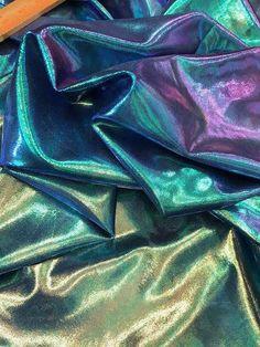 Awesome SMOKY AQUA SHIMMERY SATINY ORGANZA-Like Fabric