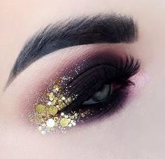 Trendy party makeup ideas make up hair style Makeup Eye Looks, Creative Makeup Looks, Eye Makeup Art, Beautiful Eye Makeup, Gold Makeup, Glitter Makeup, Cute Makeup, Pretty Makeup, Eyeshadow Makeup