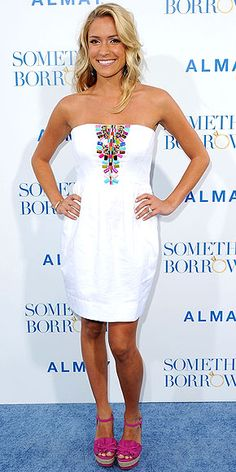 love the embellishment on the white dress, looks so good with her tan and the shoes?  to die for