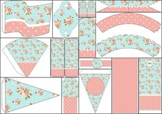 Shabby Chic in Pink and Light Blue: Free Party Printables.