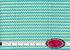 Aqua CHEVRON Designer Fabric by the yard Zig Zag by FabricBrat, $8.49