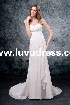Chiffon Sweetheart Strapless Neckline Lace up Rouched Bust Empire Style with Sweep/Brush Train A-Line A-Line Wedding Dress WG-0010 [WG-0010] - US$179.00 : luvudress