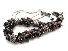 "Vintage Garnet Bead Necklace Sterling Silver 18"" Long Fashion Beaded Jewelry #StrandString"