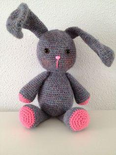 Haak je mee, #haken, gratis patroon, Nederlands, amigurumi, konijn, knuffel, speelgoed, #haakpatroon