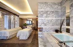 Spa treatment room at Grand Hyatt Shenyang, interior designed by HBA/Hirsch Bedner Associates