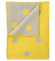 Lovely fresh, bright yellow and gray wool throw blanket called POMPOM | POMPOM Wool Throw Blanket - Nordic Interior Design