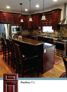 Pacifica - Solid American Maple Cabinets - a kitchen featuring stainless steel appliances and granite counter-tops by Kitchen Cabinet Kings. Buy cabinets online and save with cheap prices!  http://www.kitchencabinetkings.com/  #kitchen #cabinets #home #cabinetry