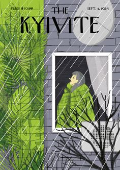 """""""The KYIVITE Cover"""" is inspired by """"The NEW YORKER"""" covers and """"The PARISIANER"""" project. This cover is dedicated to mural fever in Kyiv.   Starting from 2014 murals began to pop up across the city. Painters from different countries came to Kyiv to bring in some colour to the city's streets. But this process of """"muralization"""" became a subject of public discussion.   I wanted to show murals as a way to make up something the citizens are deprived of, like bright colours and greenery in autumn."""