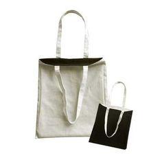 Sac coton publicitaire - Tote Bag réversible - Sac anses longues noir blanc écru