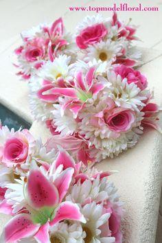 unique bridal bouquets | Stargazer Lily & Daisy Bridal Bouquets | Unique Floral Arrangements By ...